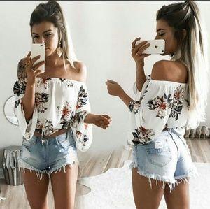🌼 COMING SOON off shoulder floral top